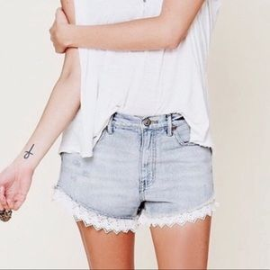 Free People High Waist Lace Hem Denim Shorts